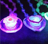 ingrosso illuminare le collane di halloween-600PCS Collana LED acrilico Light Up Collana Giocattoli Bambini Bambini Novità Lampeggiante Halloween Club Pub Compleanno Halloween Party