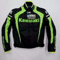 Wholesale Black Jacket Men Flame - New arrival men jacket KAWASAKI winter automobile race clothing motorcycle clothing thermal removable liner flanchard