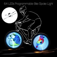 Wholesale Motor Bike Led - 64 LED DIY Bicycle Lights Wireless Programmable Bike Spokes Wheel Light Colorful Motor Cycle Lamp Luces Image For Night Cycling
