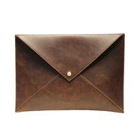 Wholesale bag file briefcase - Vinatge Men Leather Envelope Clutch Bag Male A4 Felt File Folder Durable Briefcase Document Bag Travel Clutches