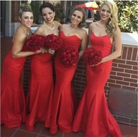 dama de honor escote corazón al por mayor-2019 nuevos vestidos de dama de honor de sirena roja cariño escote palabra de longitud vestido de invitados de boda largo vestido de dama de honor de jardín