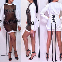 Wholesale novelty vintage dress - Perspective design women dress mesh diamonds novelty dress long sleeve party sexy dress B9061