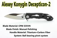 clones cuchillo al por mayor-Versión mejorada Clon personalizado Alexey Konygin CKF Decepticon2 Cuchillo plegable para acampar S35VN Hoja de fibra de carbono Mango Herramientas tácticas EDC