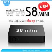 8-гигабитный медиаплеер оптовых-Самый дешевый S8 MINI Quad Core Android 7.1 TV Box 1GB/2GB 8GB / 16GB арабский IPTV медиа-плеер
