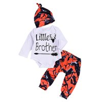 boys outfit leggings 2021 - 2018 New Toddler Baby Boys Sets Little Brother Romper + Long Pants Leggings + Hat Orange Camouflage Outfits 3PCS Set Newborn Infant Clothes