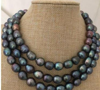 Wholesale tahitian pearls necklaces resale online - stunning mm tahitian black pearl necklace inch silver