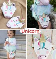 Wholesale kids backpack free shipping - INS New Baby Girls Unicorn Messenger Bags Children Pu Leather Cartoon Cute Cross Body Kids Mini Shoulder Bag Boutique 1-5years free ship