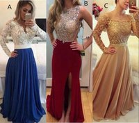 Wholesale Three Floor Fashion - 2018 Three Style Evening Dresses Bateau Sequins Beaded Chiffon Formal Prom Party Gowns Cheap Floor Length Side Split Special Occasion Wear