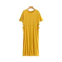 ingrosso vestiti midi gialli-donne eleganti ritagliate abito giallo manica corta o collo moda donna streetwear casual abiti midi vestidos