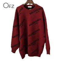 Wholesale thick knit - 2017Autumn Winter European Style Women Sweaters Print Loose O-Neck Knitted Pullover Batwing Sleeve Female Tops Free Size Sweater
