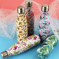 Wholesale international bottled water - 11colors 500ml Printed Floral Cola Bottle Stainless Steel Print Thermal Coke Cup Insulated Double Wall Vacuum Water Bottle AAA387