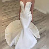 elegante französische kleider großhandel-Elegante Satin-Nixe-Brautkleider Sexy Schatz-Spitze Appliques wulstige Strand-Hochzeits-Kleider würdevolle französische königliche Hochzeits-Kleider
