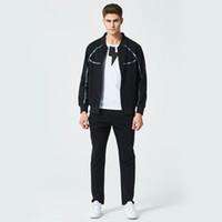 ingrosso vestiti di usura di disegno-New Fashion Tuta Zipper Design Pullover con pantaloni adatta cotone casuale per gli uomini autunno primavera Sport Wear US Size