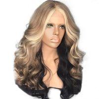 peruca branca alta qualidade venda por atacado-ZF Peruca Loira Onda 22 polegadas Peruca Ombre Loira Ondulado Alta Qualidade Perucas Loiras Raízes Mais Escuras Moda Mulheres Brancas