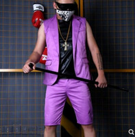 ropa de talla más al por mayor-S-5XL! 2018 Nueva ropa para hombres Cantante de moda DJ DG, traje morado, pantalones cortos más el club nocturno para hombres, trajes de performance para escenario