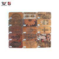 boîtier en bois naturel achat en gros de-UI Original Naturel Double PC + Cas de téléphone portable en bois pour iPhone 5 6 6plus 8 7plus Durable PC Bumper Cas de protection de téléphone