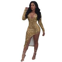 vestido de discoteca de alta moda al por mayor-2018 Vestido dorado de alta calidad Moda Mujer Ropa Cuello en V Manga larga Blanco Sexy Split Split Vestidos de lentejuelas NightClub Club Vestido de fiesta