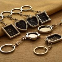 мини-брелки для ключей оптовых-SEKINEW Mini Creative Metal Alloy Insert Photo Picture Frame Keyring llaveros Keychain Gift Car Ornament Accessories