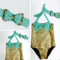 Wholesale toddler girl wearing swimsuit - Summer Fashion Children Mermaid Swimwear Costume Kids Bowtie Swimsuit Lovely Girl Swim Suit Beach Children Bathing Wear Toddler Bikini
