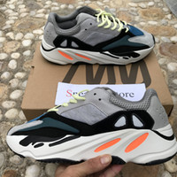 Wholesale lace material shoes - [Double Box] 2018 New 700 Wave Runner Grey Kanye West Solid Grey White Orange B75571 3M Material Men Women Running Shoes Sports Sneakers