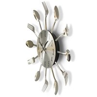 Wholesale Plastic Fork Knife Spoon - New Round Wall Clock Solid Metal Silver Practical Knife Fork Spoon Shape Clocks Kitchen Restaurant Decoration Home Accessories 21hr Y