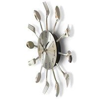 cuchillos de cocina de restaurante al por mayor-Reloj de Pared redondo de Metal Sólido Plata Práctico Cuchillo Tenedor Cuchara Forma Relojes Cocina Restaurante Decoración Accesorios para el hogar 21hr YB