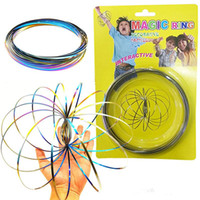 Wholesale springs for toys - Toroflux Rainbow Flow Rings Stainless Steel Kinetic Spring Metal SUS 304 Magic Flow Ring 3D Sculpture Ring Interactive Toys For Kids LC762-1