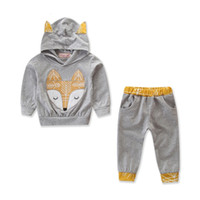 Wholesale animal fox hoodie online - Baby Clothes Set Boys INS Fox Hoodie Set Autumn Toddler Long Sleeve Hoodie Pants Pieces Set Suit Baby Infant Cartoon Clothing YFA395