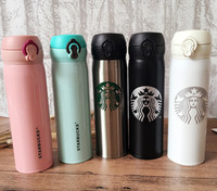 Wholesale starbucks coffee travel mugs for sale - 500ml Starbucks Double Wall Stainless Steel Water Bottle Portable Cups Coffee Water Cup Insulated Cars Beer Mugs Coffee Mug Travel Bottle