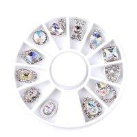 ingrosso fascini della ruota in lega-12pcs / set Luxury Charm Clear AB Lega Nail Rhinestone Diamante Decorazioni Wheel 3D Mix Design Manicure Tools