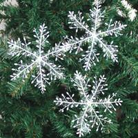 ingrosso decorazione di fiocchi di neve-Nuovo Fiocco di neve Decorazione natalizia Fiocco di neve Albero di Natale Pendente Fiocchi di neve in seta di plastica Xmas Festive Party Supplies WX9-760