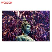 Wholesale Framed Oil Paintings Buddha - WONZOM HD Printed 3Pcs Buddha Wall Picture Framed Directly To Hang For Living Room Large Zen Modern Cuadros Decoracion 2017 Gift
