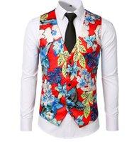 çiçek yelek yelek toptan satış-Erkekler Slim Fit Casual Çiçek Baskılı Kolsuz ceketler Coat İçin Yeni Elbise Yelekler Örgün Yelek Elbise Takım Elbise Vest Mens