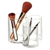 organizador de armazenamento de maquiagem venda por atacado-Organizador de Acrílico QUENTE Cosmetic Brushes Titular Organizador de Maquiagem caixa de armazenamento de Jóias Casos De Armazenamento De Cosméticos 3 sulco conjugado