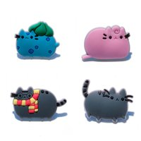 Wholesale Cat Party Favors - 50pcs lot Pusheen the Cats Cartoon Figure Icon PVC Brooch Pins Badge Button Bags Clothes Accessories Kids Gift Party Favors