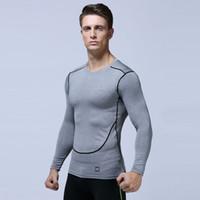 Wholesale male leggings - Men Compression Run jogging Suits Sportswear Sports Set Long sleeves t shirt leggings male Gym Fitness Tight clothing 2pcs Sets MMA364