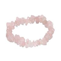 natürliche rosa lose perlen großhandel-YYW Ethnische Frauen Schmuck Armband Natürliche Echt Rosa Quarz Stone Chips Nuggets Lose Perlen Einzelne Elastische Rose Stein Armbänder