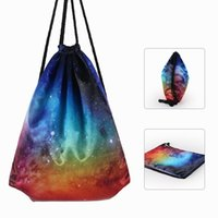 Wholesale fiber wall covering - Fashion Polyester Fiber Backpack Universe Starry Sky Pattern Drawstring Bags Portable Dust Proof Storage Bag For Men And Women 11 8yya B