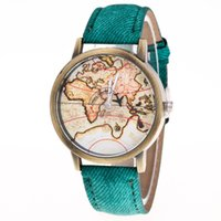 Wholesale Glass Airplane - New 2018 unisex women mens mini world map airplane pointer leather watch wholesale fashion ladies cowboy dress quartz watches