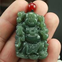 grüne jade buddha anhänger halskette großhandel-Natürliche handgeschnitzte chinesische Hetian Jade Anhänger - grüne Jade geschnitzte Buddha Glück Amulett Anhänger Halskette
