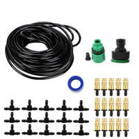 Wholesale misting systems - 15m Copper Nozzle Irrigation System Portable Misting Automatic Watering Garden Hose Spray Head With 4 7mm Tee And Connector