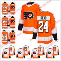 Wholesale Read Orange - Philadelphia Flyers #24 Matt Read 37 Brian Elliott 40 Weal 56 Tyrell Goulbourne 2018 New Brand Orange White Sewn Hockey Jerseys S-60