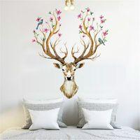tapeten für wohnzimmer wände groihandel-Sika Deer Form Wandaufkleber Wohnzimmer Home Schmücken Kunst Aufkleber Abnehmbare Wasserdicht Umweltfreundliche Tapete 3 3yt jj