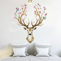 Wholesale wall wallpaper for bedroom resale online - Sika Deer Shape Wall Sticker Living Room Home Decorate Art Stickers Removable Water Proof Eco Friendly Wallpaper yt jj