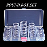 Wholesale Nail Art Set Bottle - Nail Art Accessory Round Box Set, Tiny clear bottles with screw cap for DIY Cosmetics Nails Jewelry beads Crafts containers case