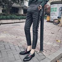 Wholesale dress pants for men - Pin Stripe Men Dress Pants Slim Fit With Side Tape Fashion Designer Dress Ankle Pants Men Social Trousers Pant For Men Pantaloni