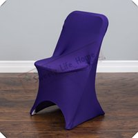 пуховые чехлы оптовых-Свадьба складной фиолетовый спандекс охватывает Бесплатная доставка складной стул охватывает лайкра стул сиденья для банкетных стульев