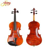 precios de tablero al por mayor-Grado superior Hand-craft Antique Violin 4/4 Rayas Naturalmente Secas Single Board Maple Violino Violon profissional Buen precio Violín