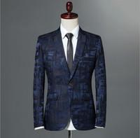 Wholesale male suite - Male Suite 2018 Autumn Classic Brand Blazer Men Single Button Casual Print Slim Fit Business Suit Jacket Wine red Grey Khaki