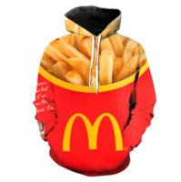ince hoody sweatshirt toptan satış-Yeni Moda Kadınlar / Erkekler Çiftler Burger Kızartması Fast Food Ince Komik 3d Baskı Hoodies Hoody Uzun Kollu Kapşonlu Tişörtü Kazak YE023 Tops